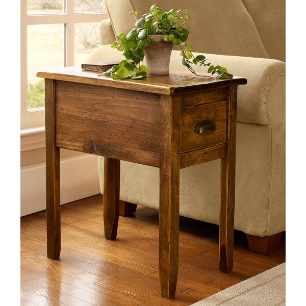 L Bean Rustic Wooden Side Table 305 Cad Liked On Polyvore Featuring Home
