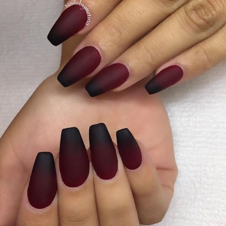 25 Matte Nail Designs You Ll Want To Copy This Fall Ombre Red Black