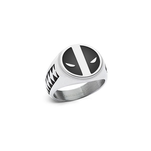 Deadpool Symbol and Katana Ring ($30) ❤ liked on Polyvore featuring jewelry, rings, stainless steel jewellery, stainless steel band ring, band jewelry, stainless steel rings and stainless steel jewelry
