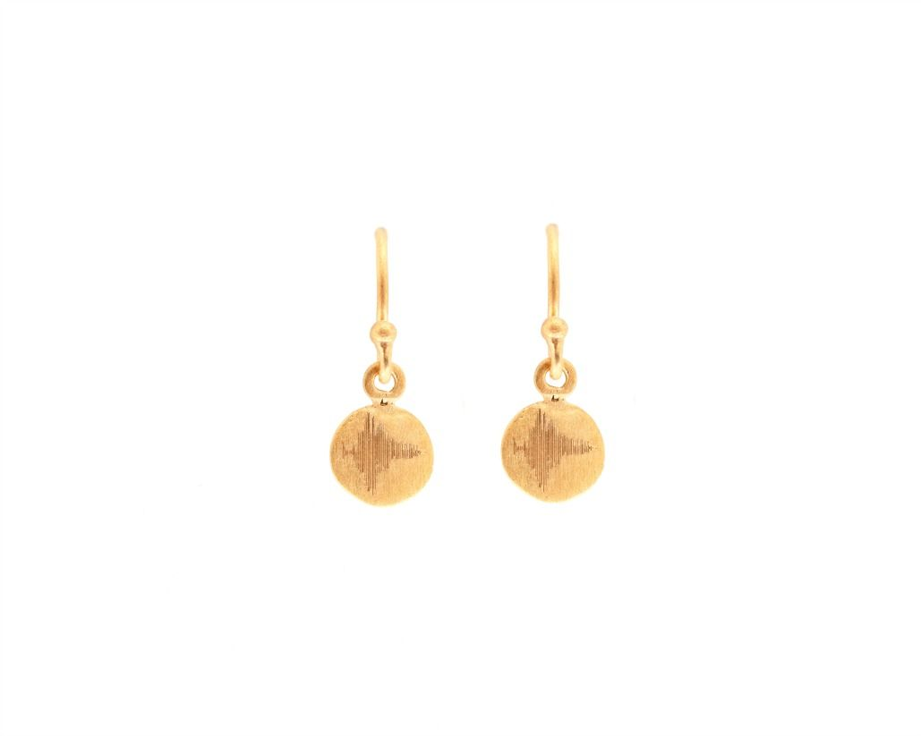 "Dream - These Tiny Disk Yellow Gold Earrings are engraved with the Soundwave of ""Dream"". 22kt Yellow gold plating"