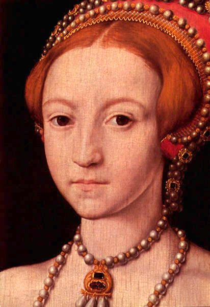 Close up to Princess Elizabeth´s face, aged about 13 from the 1546 portrait sometimes attributed to William Scrots