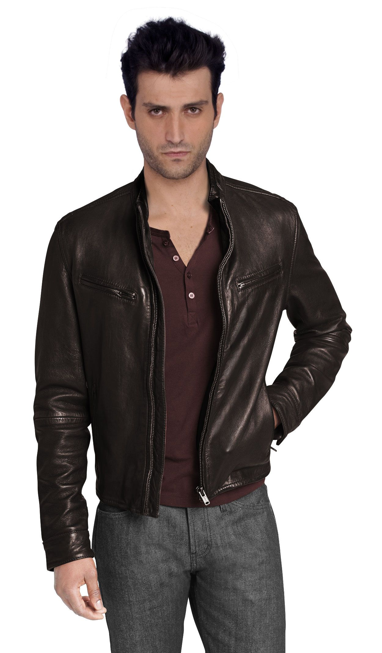Pretty cool brown leather jacket Leather jacket men