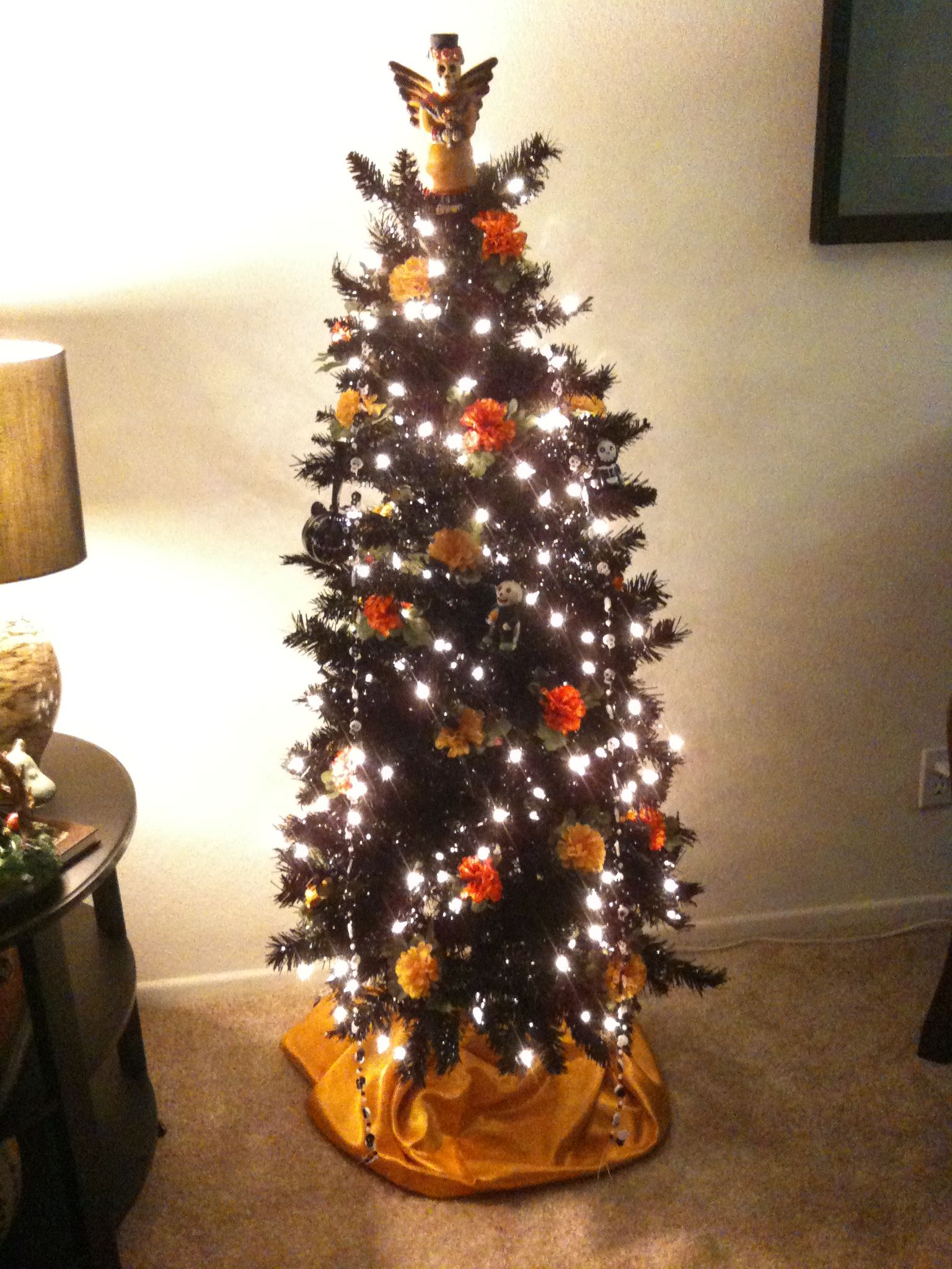 pre lit black christmas tree from walmart with marigold silk flowers skullies and