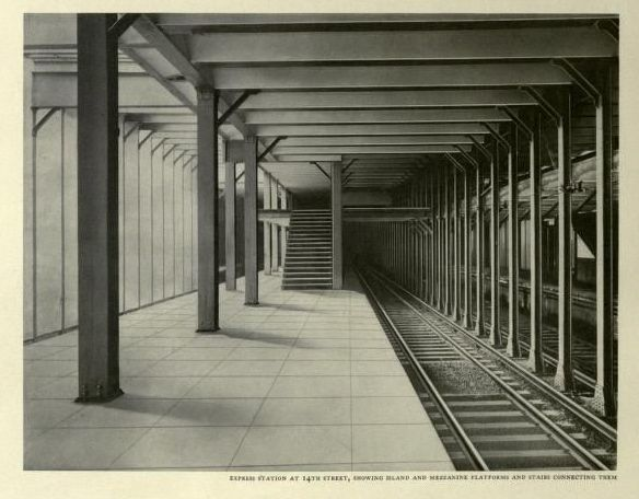 nemfrog:Express station at 14th St., showing island and mezzanine platforms and stairs connecting them. Interborough rapid transit; the New York subway, its construction and equipment. 1904.