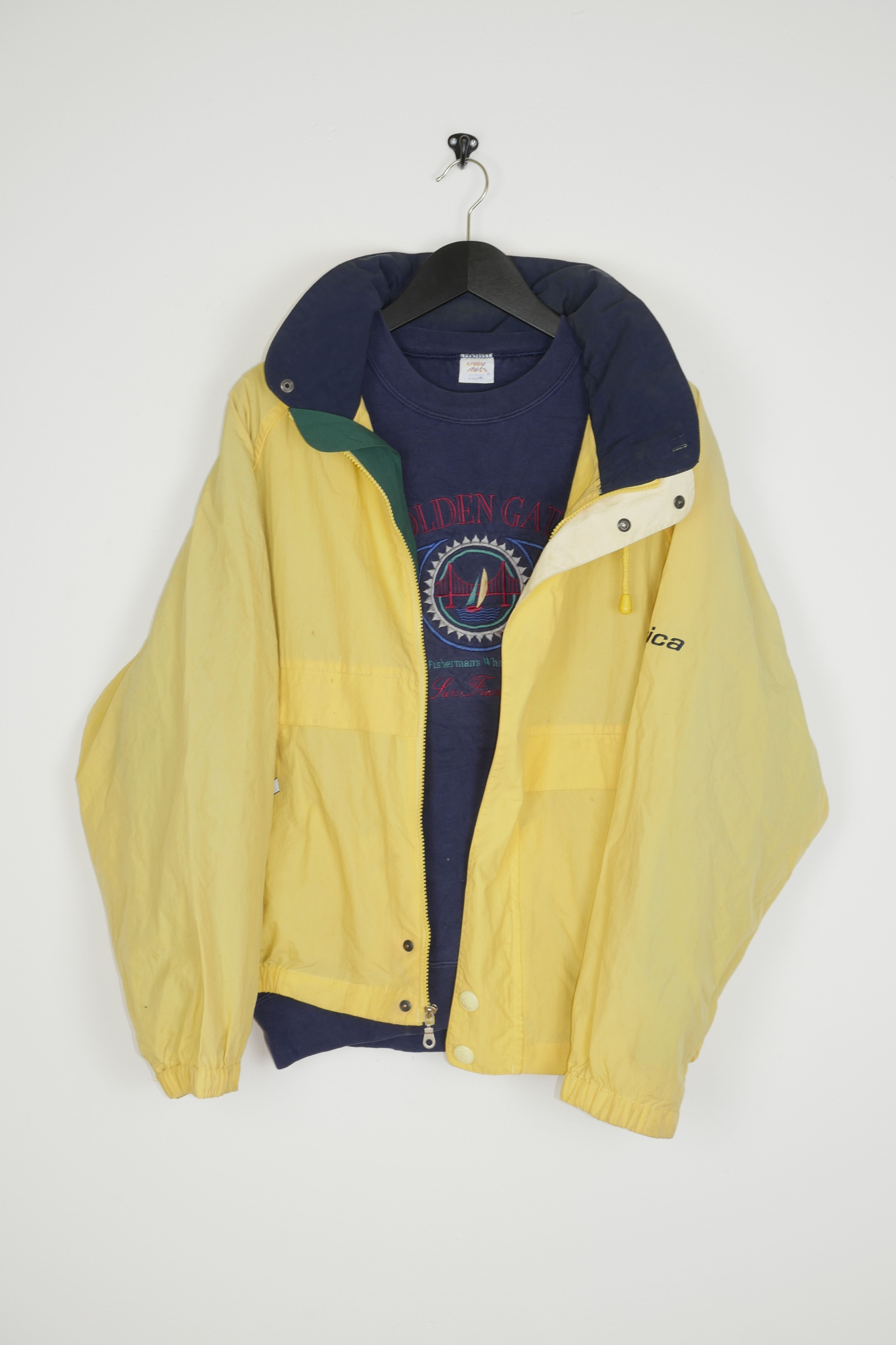 vintage nautica jacket and embroidered golden gate sweater