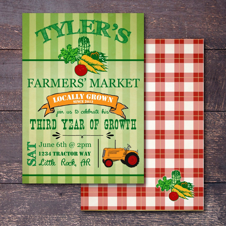 Farmers Market Invitation, Picnic Party Invitation, Farmers Market ...