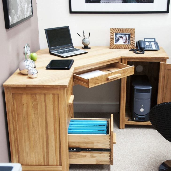 Corner Light Brown Wooden Computer Desk With Drawers And