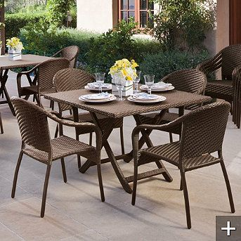 cafe folding table and stackable chairs for outdoor dining outdoor