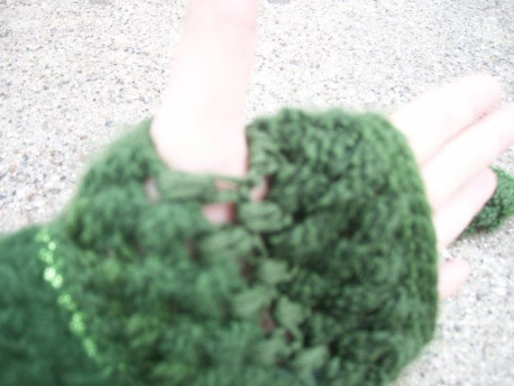 fingerless puffstitch mittens by Abbiescrochethings on Etsy, $14.00