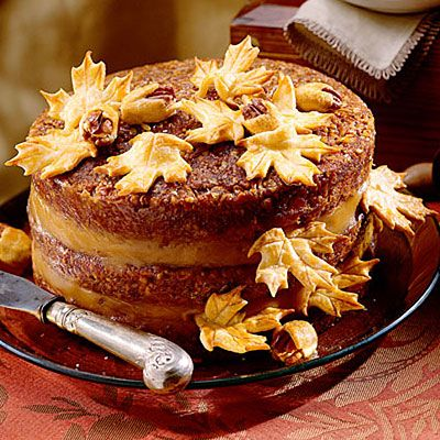 Pecan Pie Cake    A decadent Pecan Pie Filling is used instead of frosting between the layers of this moist cake.