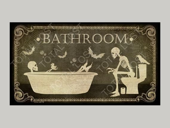 Photo of Gothic door sign for your bathroom,door sign,toilet sign,bathroom sign,skulls signs,housewarming gif