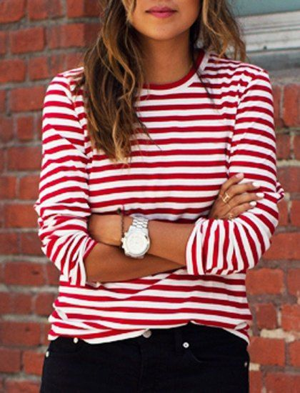 083d952f7 Stripes Print Casual Round Collar Long Sleeve T-Shirt For Women ...
