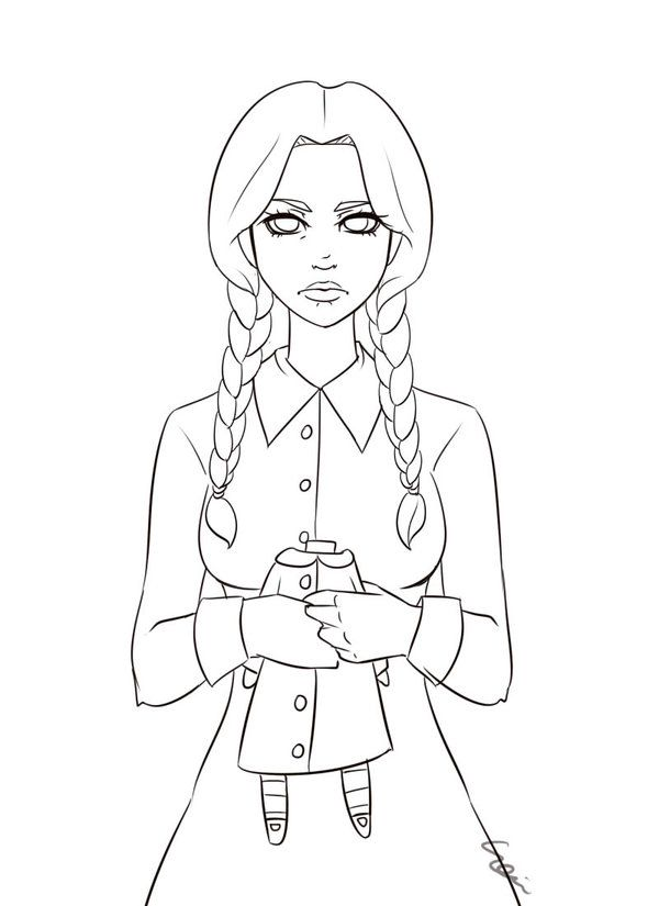 Wednesday Addams Lineart By Sonten On Deviantart Family Coloring Pages Wednesday Addams Movie Monsters