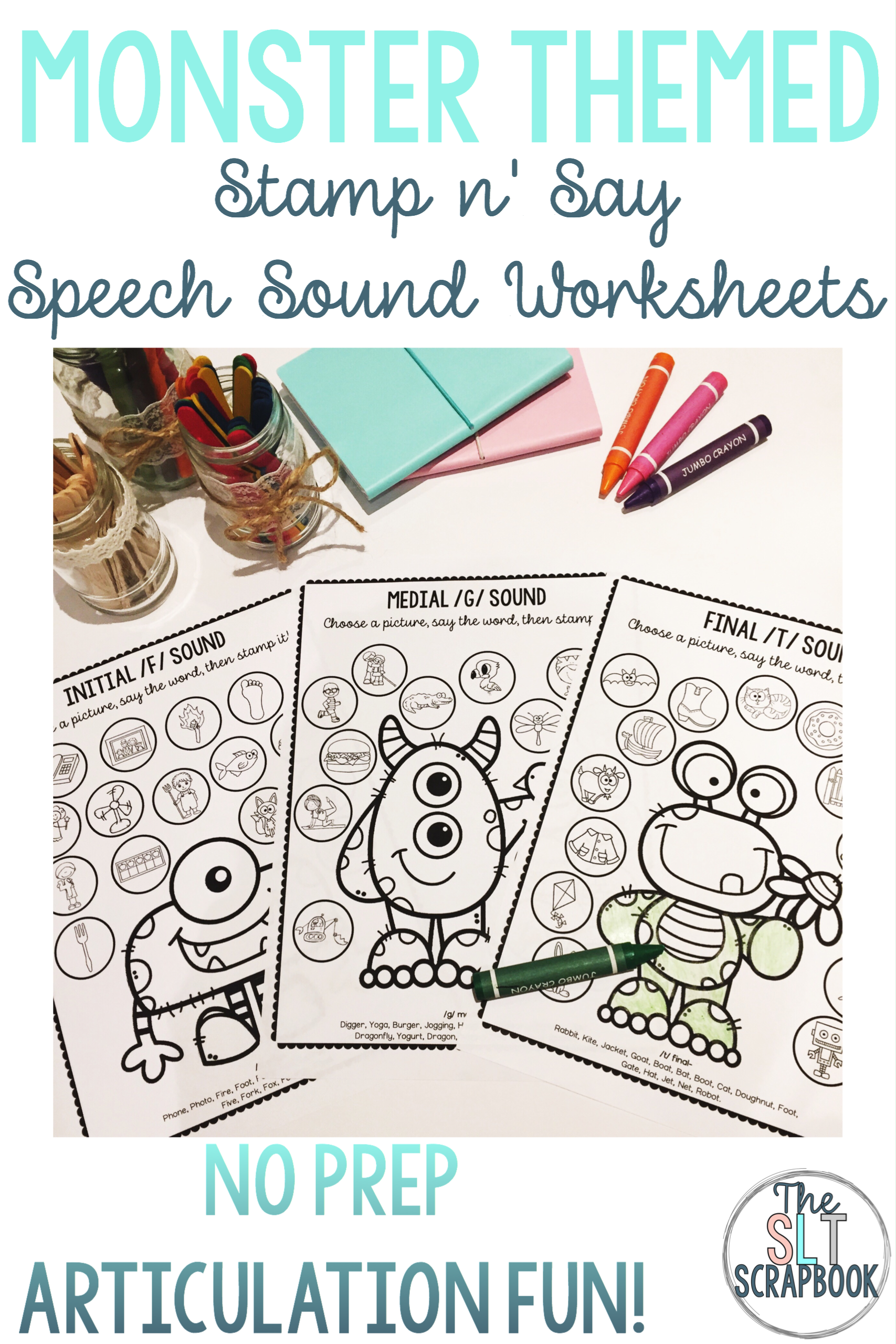 Monster Themed Speech Sound Worksheets No Prep