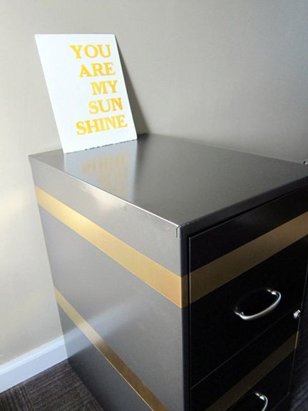 DIY Gold Striped Filing Cabinet   Project: Fixing up my room ...