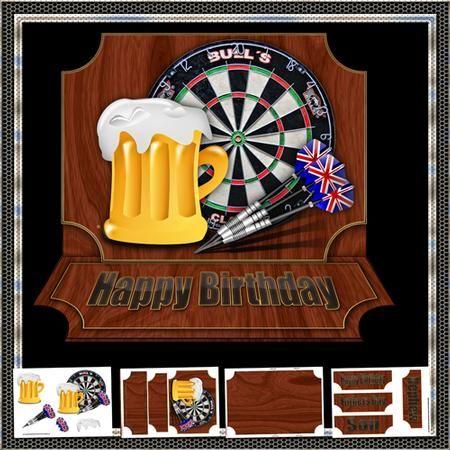 cute Husband Happy Birthday greetings card darts