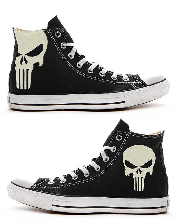 bca26fe63f37 The Punisher Custom Converse   Painted Shoes by FeslegenDesign ...
