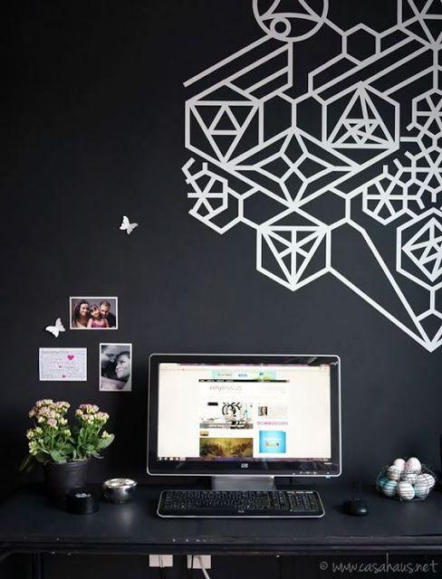 une t te de lit en masking tape d corations mur scotch pinterest. Black Bedroom Furniture Sets. Home Design Ideas