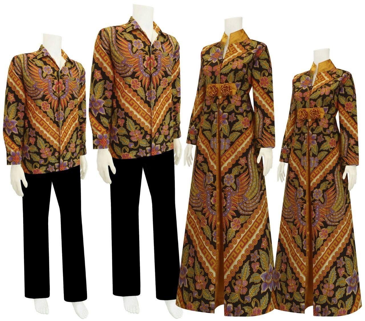 Model Baju Gamis Batik Sarimbit dengan motif Garuda Kembar sedang