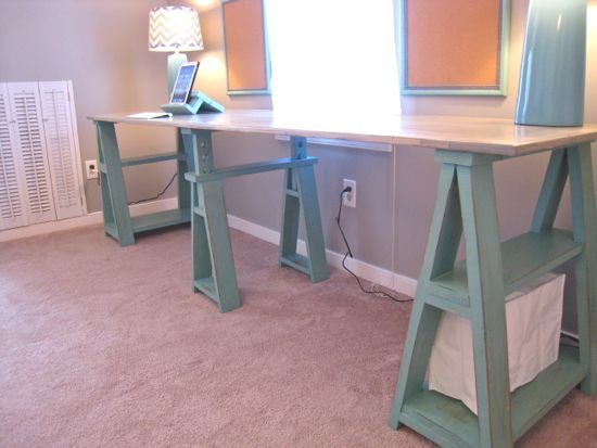 Create A Luxe Sawhorse Desk With Painted Ikea Parts Sawhorse Desk Diy Desk Glass Top Desk