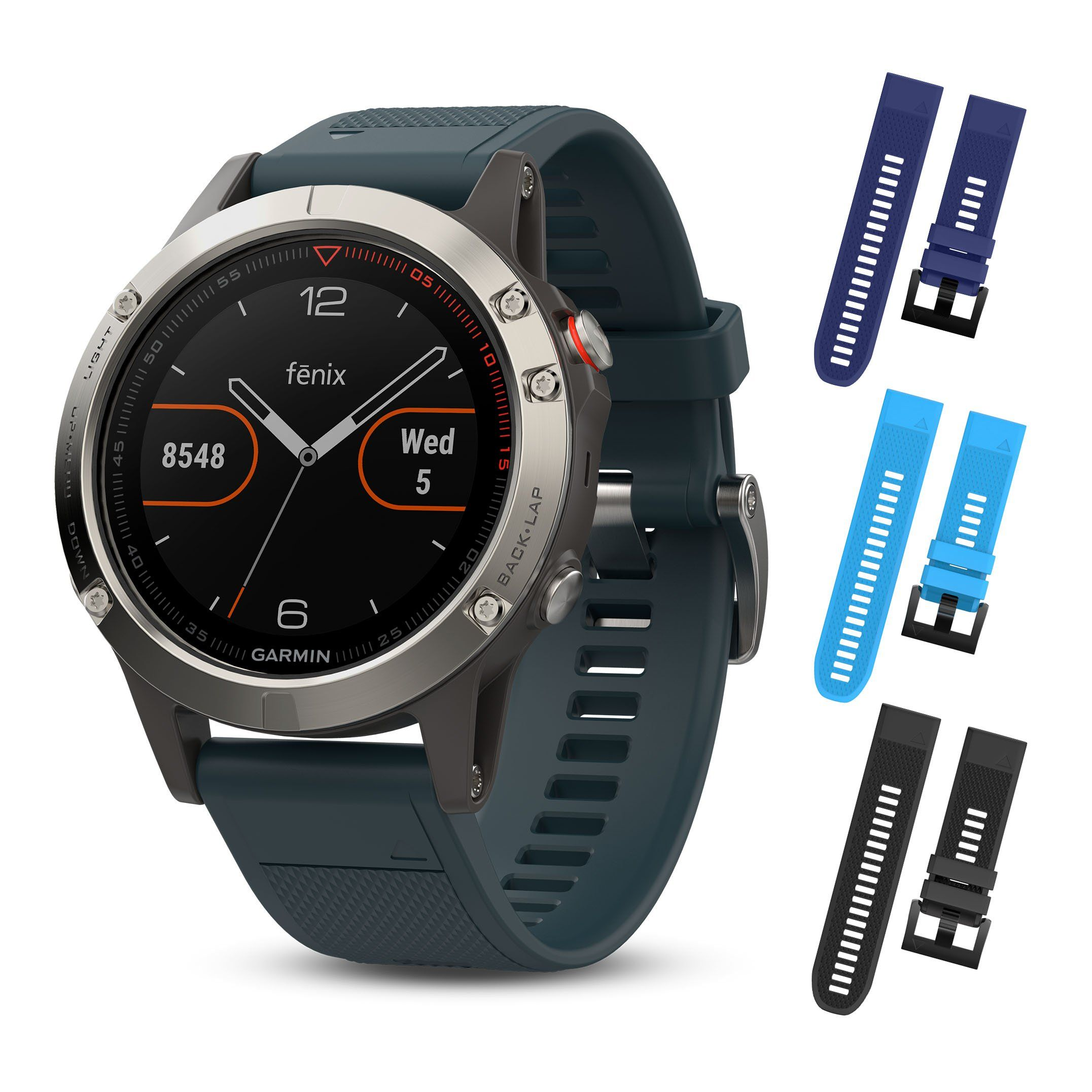 Garmin Fenix 5 Silver With Granite Blue Band 010 01688 01 And Three Additional Wearable4U Quick Release Silicone Watch Bands Bundle Black Sky Navy