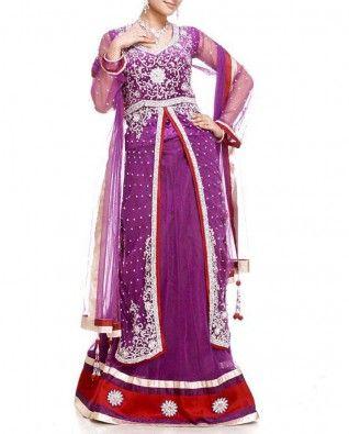 #Exclusivelyin, #IndianEthnicWear, #IndianWear, #Fashion, Violet Lehenga Set