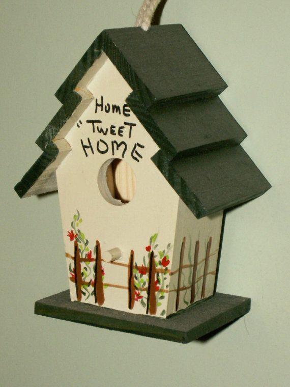 Hand Painted Mini Birdhouse Home Tweet Decor By Dagutzyone 1000