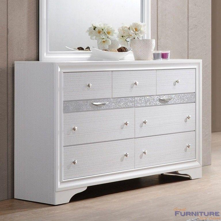 Acme Furniture Naima White Wood 9 Drawer Dresser