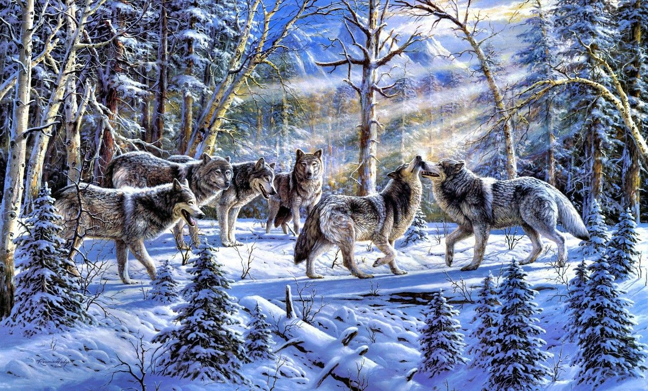 Wolf Pack Winter Wolves Wolf Painting Wolf Art