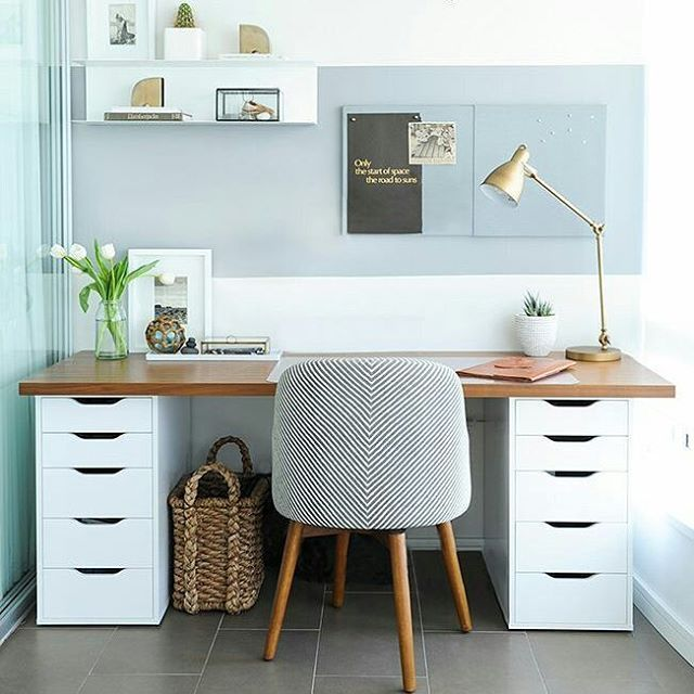 work desks home office. Balance A Wooden Board Across Two IKEA Storage Cabinets, And Boom\u2014you Have An Instant Desk With Plenty Of Room To Stash Your Office Supplies. Work Desks Home