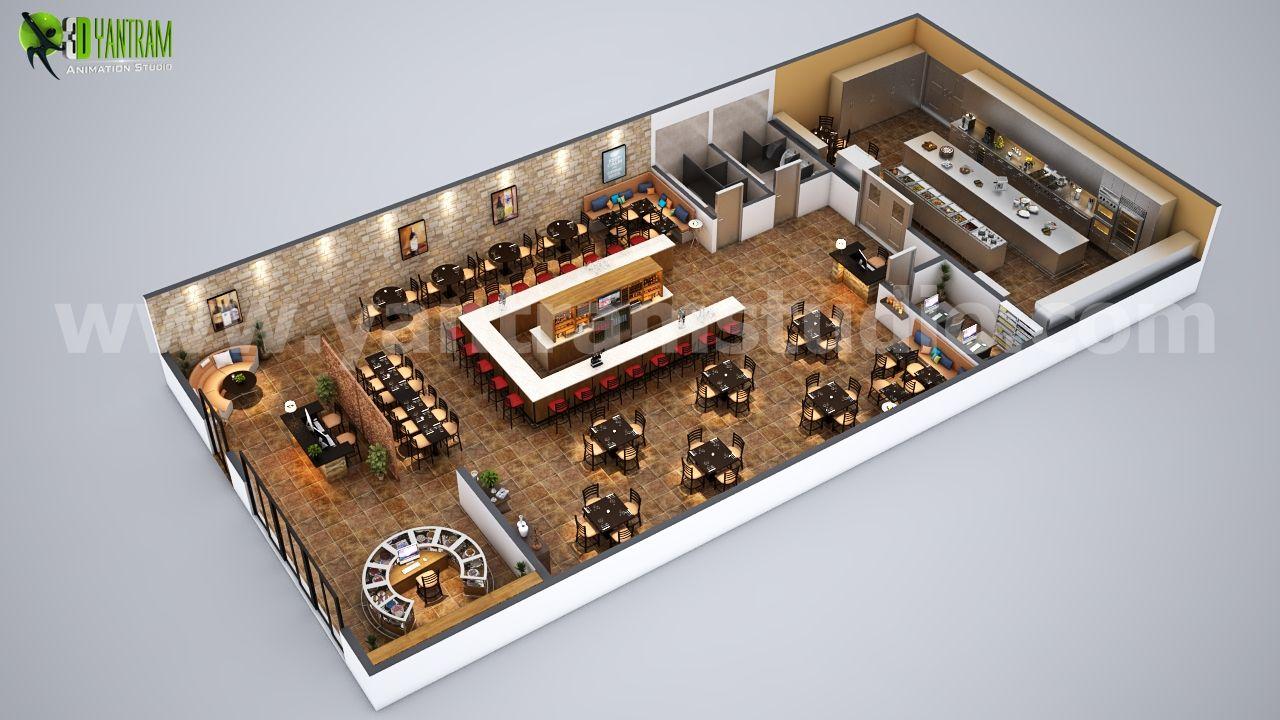 Fully Modern Bar 3d Floor Plan Design Ideas By Yantram