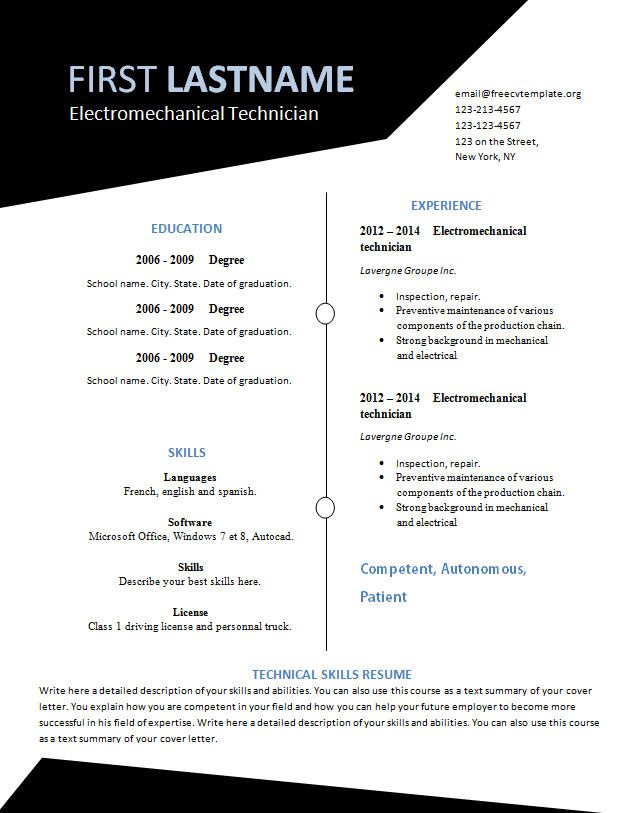 Free Resume Templates You Can Print 3 Free Resume Templates