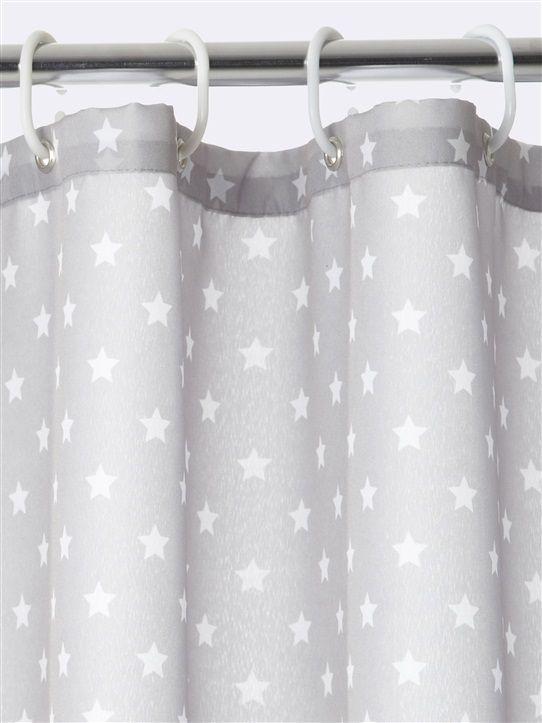 Duschvorhang Sterne Grau Weiss Duschvorhang Dusche Sterne