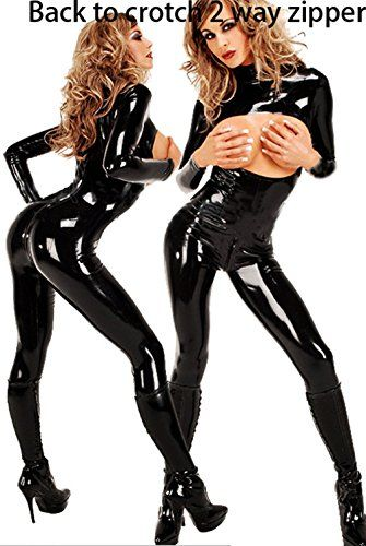 Sexy Lingerie Pvc Latex Bodysuit Open Cup Crotchless Catsuit Costume