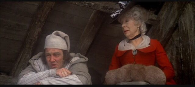 Dame Edith Evans as the ghost of Christmas past on the musical movie Scrooge