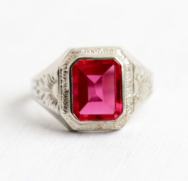Antique Art Deco 10k White Gold Ruby Ring 1920s Size 9 Mens Created Red Pink Stone Embossed Flower Fine J Antique Art Deco White Gold Ruby Ring Gold Art Deco