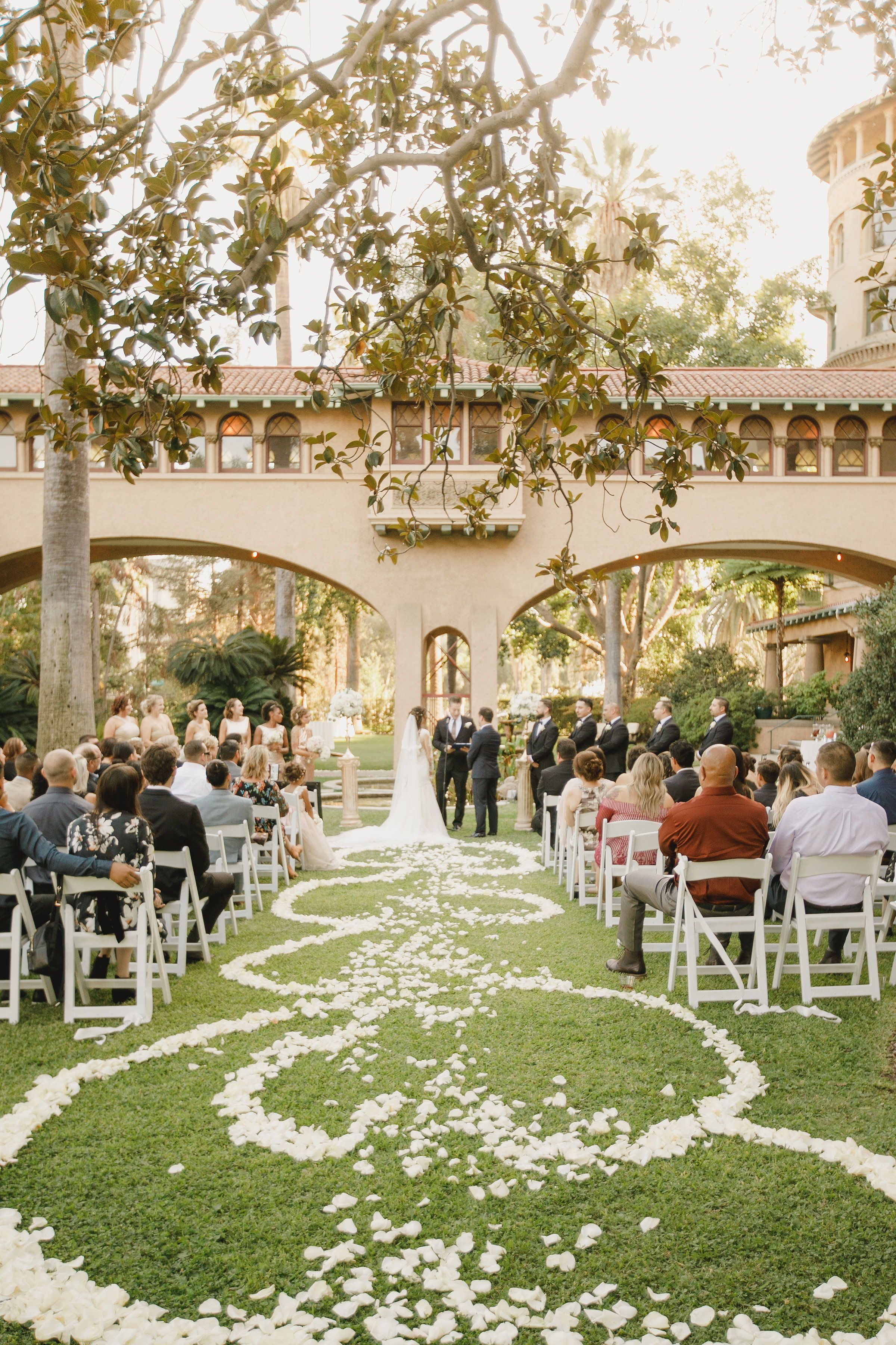 Outdoor wedding in Los Angeles CA, ceremony at the Castle ...