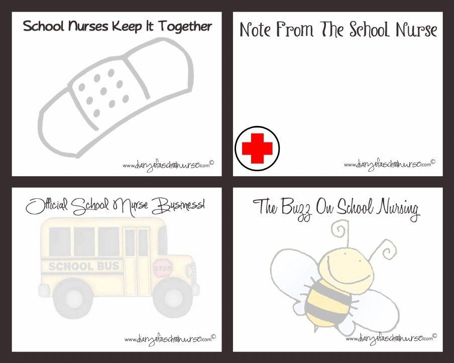 1 School Nurse Note Cards Printable 8x10 School ideas School