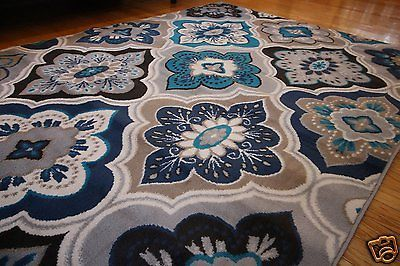New 9x12 Blue Beige Coral Navy Grey Modern Contemporary Floral Diamond Area Rug Modern Area Rugs Area Rugs Coral Blue