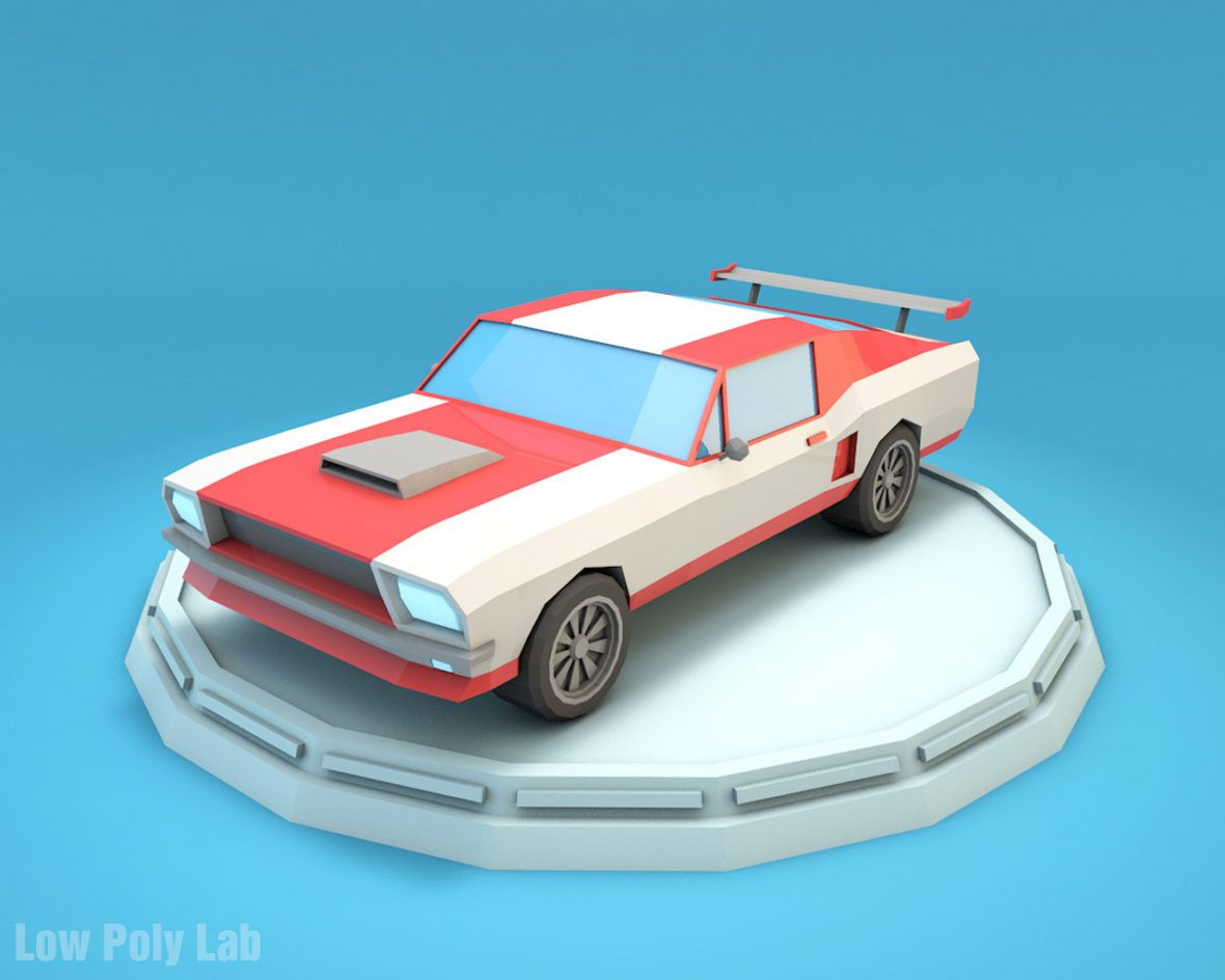 Low Poly Racing Car Mustang Download Game Ready 3d Model