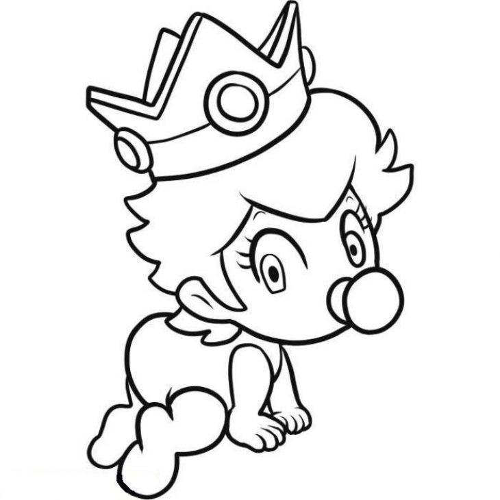 Baby Princess Peach Crawling Coloring Page | Fun Coloring ...