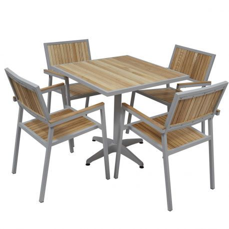Table De Jardin Carree En Bois 4 Places Mobeventpro Table De Jardin Carree Mobilier Terrasse Table Terrasse