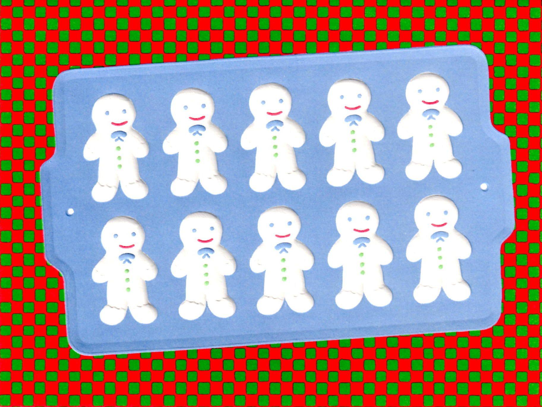 Curtis Swann embossed Christmas card Gingerbread Men on Cookie Sheet