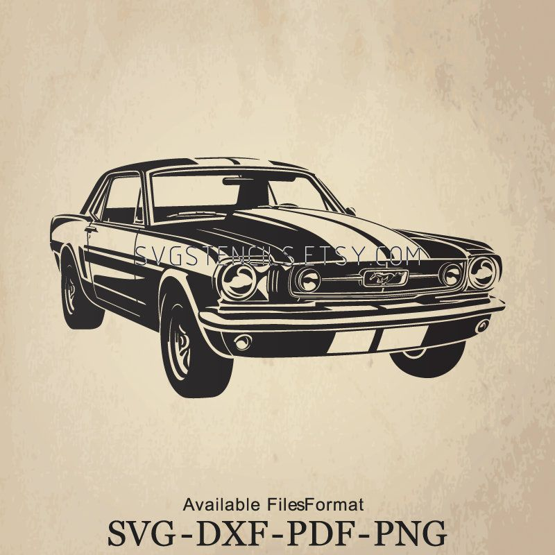 SVG – Classic Sport Car FORD MUSTANG 1966, Silhouette, Studio, Monogram, Black, Vector, Clip Art, Images for Cut Files or Prints
