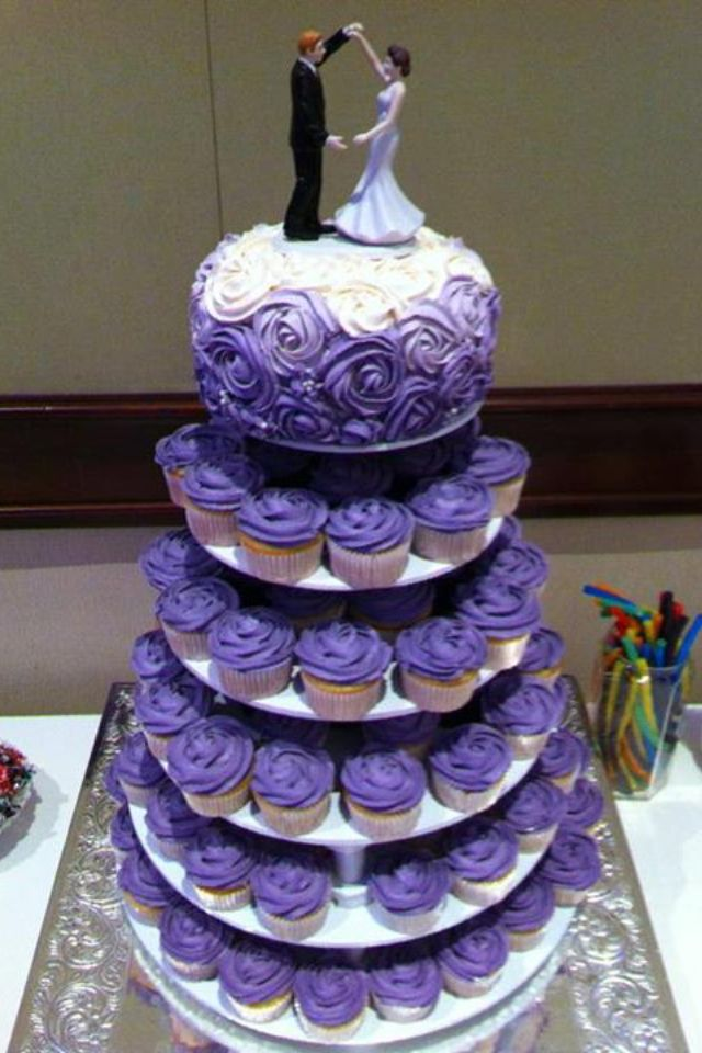 Purple wedding rose cake cupcake tiers. Qupcake Queen Petawawa, ON ...