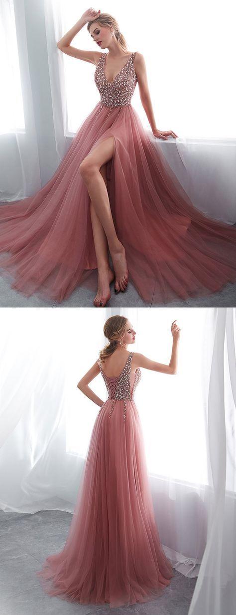 Rosa lange Ballkleider mit V-Ausschnitt Perlen Abendgesellschaft Kleider   – Robes