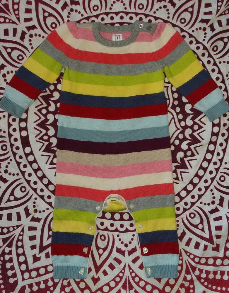 e699e3213 Baby GAP Multi Color Crazy Stripe Sweater Jumpsuit Outfit Romper ...