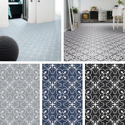 victorian tile effect sheet vinyl flooring cushioned