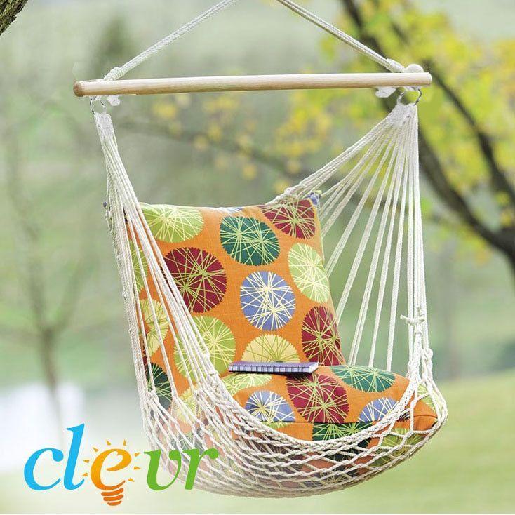 Indoor Outdoor Hanging Hammock Chair Natural White