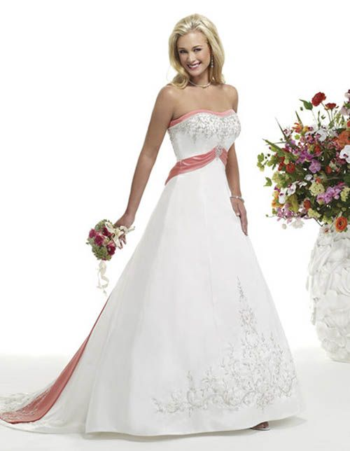 Wedding Dresses - White and Pink Wedding Dress ' Bridal Gown was ...